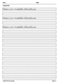 Classetice 6 Generateurs De Feuilles Et Modeles D Ecriture Sur Mesure
